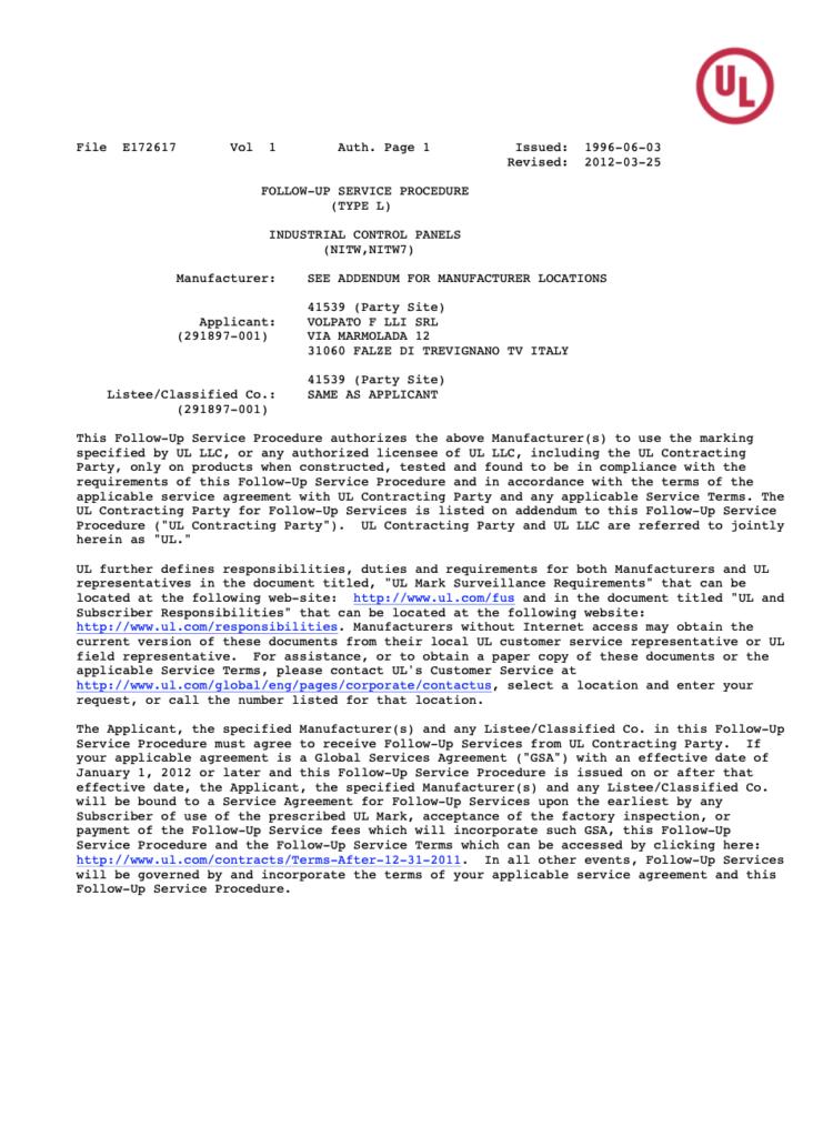Certificato UL - E172617
